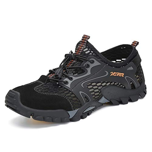 FLARUT Herren Sommer Trekking Sandale Wanderschuhe Super Atmung Draussen Hiking Schuhe Mesh Vamp Wasserschuhe Sport Laufen Klettern(Schwarz,40)
