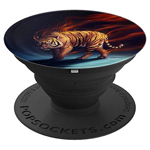 Fancy Tiger Pop Socket Fire Magic Animal PopSockets Grip and Stand for Phones and Tablets