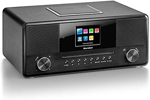 KARCHER DAB 9000CDI Internetradio schwarz ( WLAN Bluetooth DAB+/Internetradio AUX-Eingang Kopfhörerausgang CD/MP3-Player Wecker mit Dual Alarm inklusive Fernbedienung und Netzadapter)