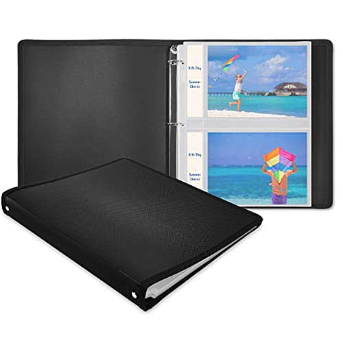 Dunwell Photo Album 3-Ring Binder - (Black, 1 Pack), Holds 100 5x7 Pictures with Initial 25 Photo Protector Sheets, 5x7 Photos, 5 x 7 Refillable Photo Insert Sheets, Acid Free, Crystal Clear