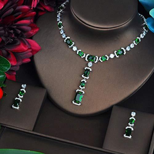 MLKJSYBA Collares Conjuntos De Joyas para Mujeres Luxury Green AAA CZ Collar Conjunto Conjunto De Vestido De Boda Accesorios Fiesta Show Venta Al por Mayor Collares para Mujeres