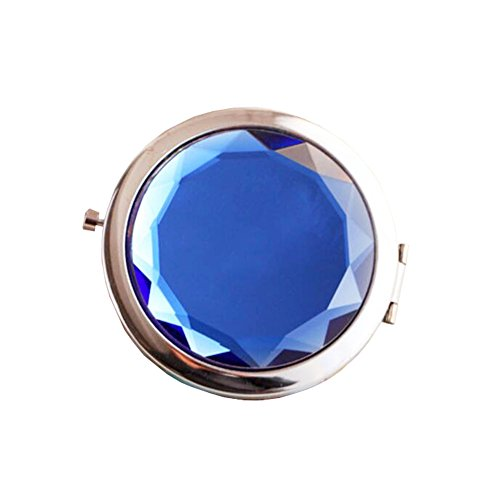 Maquillage Folding Portable Cosmetic Voyage Pocket Mirror Compact, Bleu