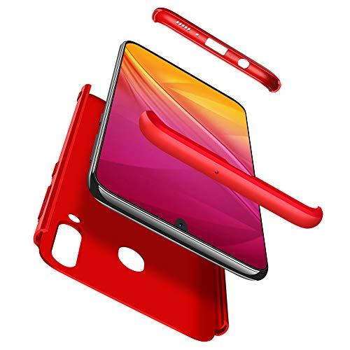 Huabo UK Custodia Samsung Galaxy A40 Cover,360°Copertura Protettiva Case PC Guscio Duro Anti Shock Anti-graffio Bumper 360 Gradi Matte Caso (Rosso)+ Film di Vetro temperato