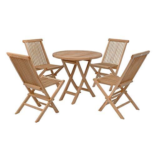BENEFFITO SALENTO - Conjunto de jardín Mesa Redonda y sillas Plegables en Teca - Ø 80 x 75 cm - 4 Personas - Sillas X 4