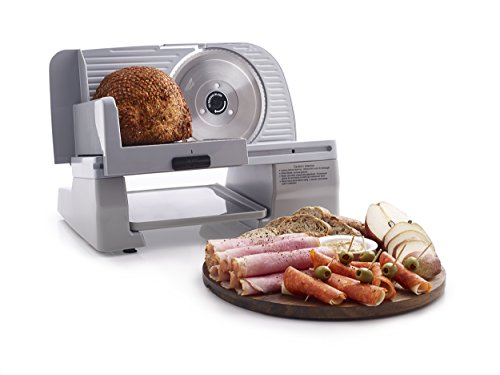 """Chef'sChoice 609-A Electric Food Slicer with Tilted Food Carriage Easy-Clean Design Rugged Construction High Torque Cool Running Motor Gear Drive Operation with Stainless Steel Blade, 7"""", Silver"""