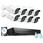 #LightningDeal REOLINK H.265 4K PoE Security Camera System, 8pcs Smart 8MP Wired PoE IP Cameras with Person Vehicle Detection, 8MP 16CH NVR with 3TB HDD for 24-7 Recording, RLK16-810B8-A