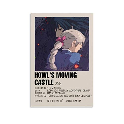 ZHIJ Movie Poster Howl's Moving Castle Poster Decorative Painting Canvas Wall Art Living Room Posters Bedroom Painting 08x12inch(20x30cm)