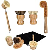 4 Pieces Bamboo Scrub Brush Mini Pot Brush Dish Scrubber Natural Scrub Brush with Handle for Cleaning Dishes, Pots, Pans