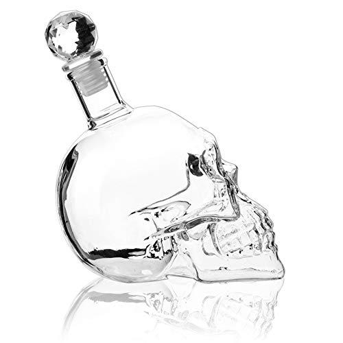 LINJJ Crystal Skull Wine Bottle, Skull Decanter, Vodka Bottle and Wine Bottle