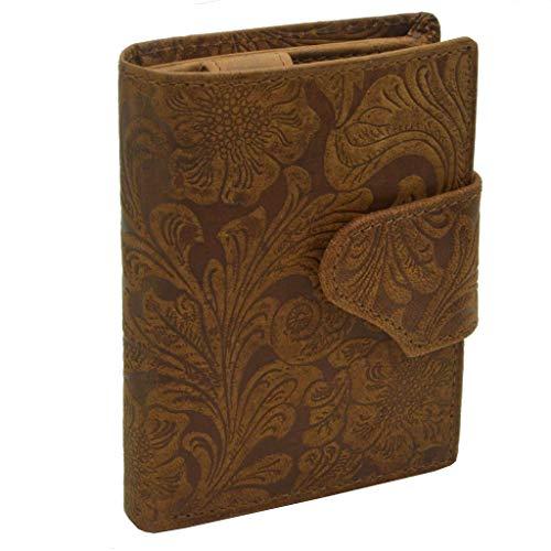 Damen Voll Leder Portemonnaie mit Lilianen Muster Hochformat mit Riegelverschluss braun