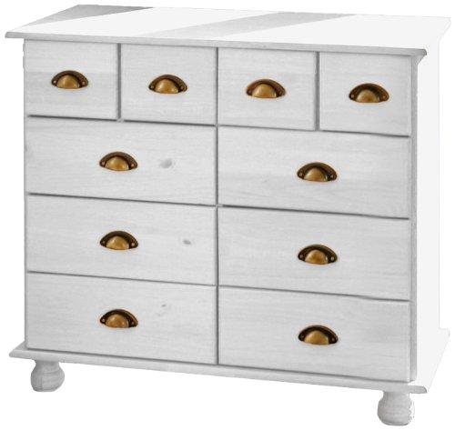 Links 20900825 Kommode Sideboard weiß Apothekerkommode Schlafzimmer Kiefer massiv 8 Schubladen