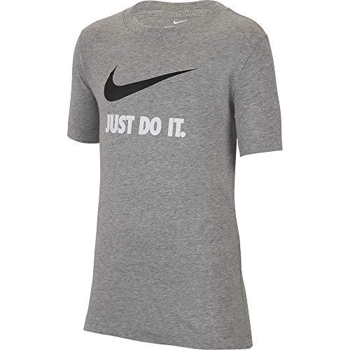 Nike Boys' Tee Just Do It Swoosh, Dark Grey Heather, Medium