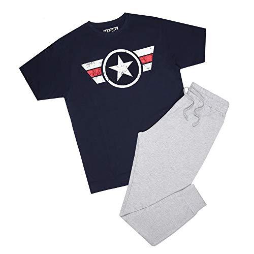 Marvel Herren Captain America Logo Stripe Pyjama Set Pyjamaset, Mehrfarbig, XL