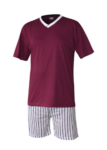 Herren Schlafanzug kurz Herren Pyjama kurz Herren Shorty Schlafanzug aus 100% Baumwolle Gr XL/54-56