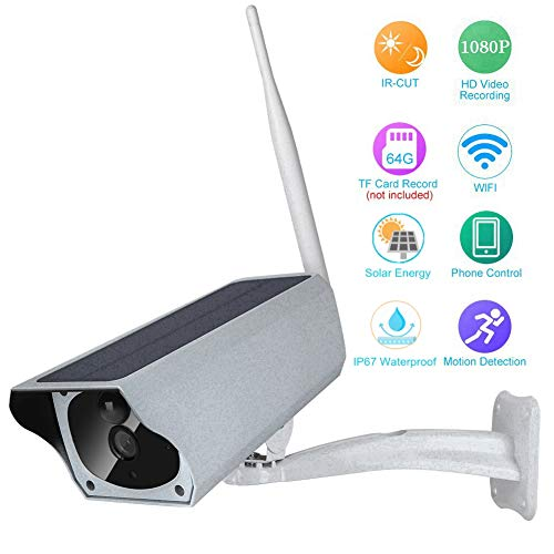 1080P HD bewakingscamera op zonne-energie, WiFi draadloze IP-camera IP67 Waterdichte bewakingscamera voor gebruik buitenshuis met IR-nachtzichtalarm en PIR-detectie voor villa's, gemeenschappelijke ruimtes