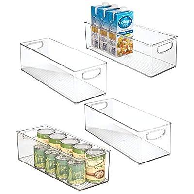 "mDesign Plastic Kitchen Pantry, Cabinet, Refrigerator, Freezer Food Storage Organizing Bin Basket with Handles - Organizer for Fruit, Vegetables, Yogurt, Snacks, Pasta - 5.75"" Wide, 4 Pack - Clear"