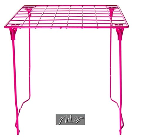"""Freestanding Folding and Stackable Wire Locker Shelf Pink (12"""" Pink)"""