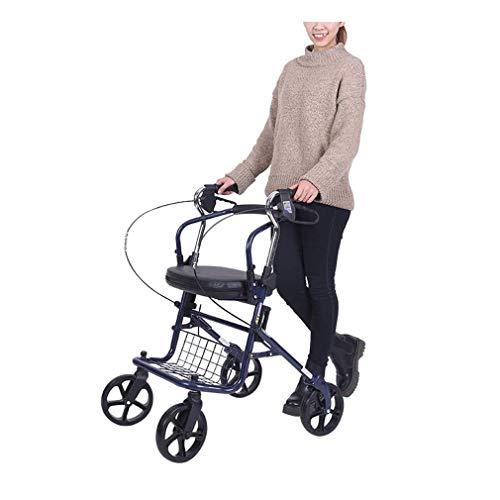 Walker voor ouderen 4 wielen Medical Walking Aids opvouwbaar, Heavy Duty Winkelwagen met stoel, Drive Rollator Walker met nieuwste dubbele remsysteem, Gebruikt voor senioren wandelen gevoerde zitting en rug