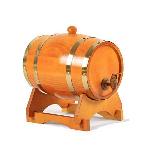 HWhome Marrón Amarillento Barril De Vino, Barrica De Pino Barrica De Vino Vino Blanco Cerveza Barril Decoración Cuba 1.5L3L5L10L15L(con Botellero)(Size:25L)
