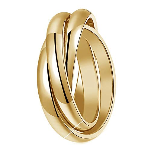 BOBIJOO JEWELRY - Ring Woman Man 3 Intertwined Rings 316L Stainless Steel Golden Gold PVD Plated Wedding Alliance - M (6 US), Gold Plated - Stainless Steel 316
