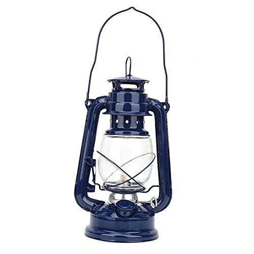 Omabeta Lámparas de queroseno Lámpara de aceite Linterna ardiente Classic Linternas de mesa Patio Decoración Jardín (azul)