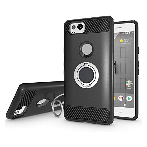 Newseego Compatible with Google Pixel 2 Case 5inch with Armor Dual Layer 2 in 1 with Extreme Heavy Duty Protection and Finger Ring Holder Kickstand Fit Magnetic Car Mount for Google Pixel 2-Black