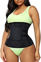TrainingGirl Women Waist Trainer Cincher Trimmer Belt Tummy Control Sweat Girdle Workout Slim Belly Band for Weight Loss with Zipper Hooks (Black, 3XL)
