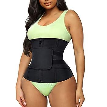 TrainingGirl Women Waist Trainer Cincher Trimmer Belt Tummy Control Sweat Girdle Workout Slim Belly Band for Weight Loss with Zipper Hooks  Black S