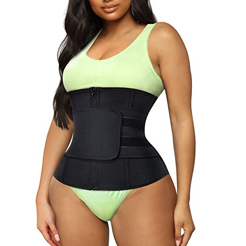 TrainingGirl Women Waist Trainer Cincher Trimmer Belt Tummy Control Sweat Girdle Workout Slim Belly Band for Weight Loss with Zipper Hooks (Black, S)