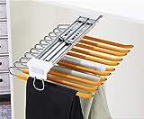 WYDYDM Kleiderschrank-Hosen-Rack, ausziehbarer Edelstahl-Hosen-Rack mit 11 Armen für Raumsparnis...