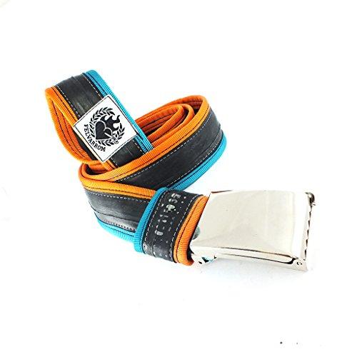 100% VEGANER VEGETARISCHER GÜRTEL in Vielen Farben - Ohne Loch, Verstellbar mit Druckknopfverschluss - aus Upcycelten Fahrrad-Innenrohr (TürkisBlau-Orange, S=105 cm (Taille bis 86 cm))