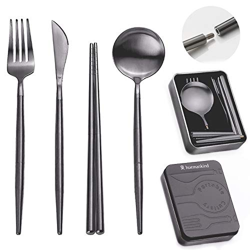Huemankind Reusable Utensils Set with Case Portable Stainless Steel Camping Flatware Travel Cutlery For Camping Picnic amp OnTheGo 4in1 Spoon Fork Knife Chopstick amp Pocket Sized Case Black