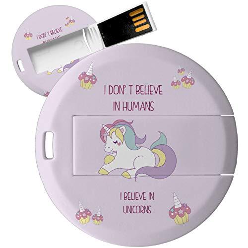 My Custom Style PenDrive USB Redonda 4,3cm-0,3mm#Summer Time - Unicornio Rosa#32Gb