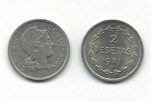 Moneda Original 2 PESETAS Gobierno DE EUSKADI 1937 REPÚBLICA ESPAÑA