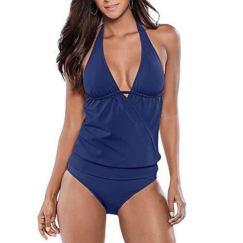 Carprinass Women's V Neck Surplice Tankini Sets Tops and Bottoms Swimsuits (Large, Blue)