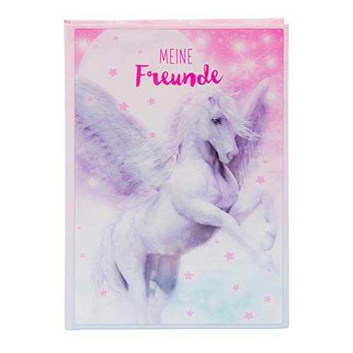 goldbuch 43204 Freundebuch Pegasus 3D, Buch DIN A5, Freundschaftsbuch zum Ausfüllen, Erinnerungsbuch an Freunde, Notizbuch mit 88 illustrierte Seiten, Einband mit Kunstdruck, ca. 15 x 21 x 1,5 cm