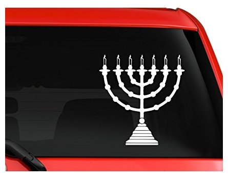 Menorah Hanukkah Hanuka Symbol Car Truck Laptop Window Sticker Decal White - Sticker Graphic - Auto, Wall, Laptop, Cell