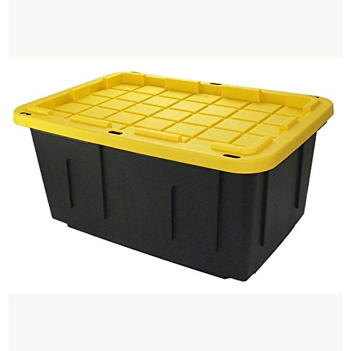 27 Gallon Black Tote with Standard Snap Lid Heavy duty Construction For Garage and Workshop Use