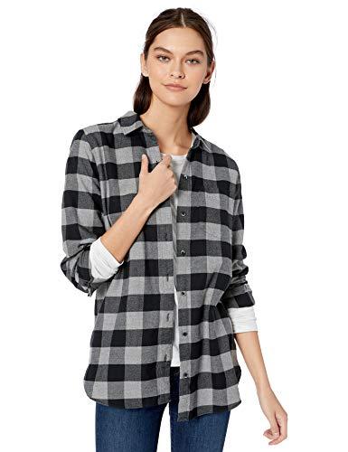 Amazon Brand - Goodthreads Women's Heavyweight Flannel Long-Sleeve Button-Front Tunic Shirt, Grey Heather/Black Buffalo Check, X-Large