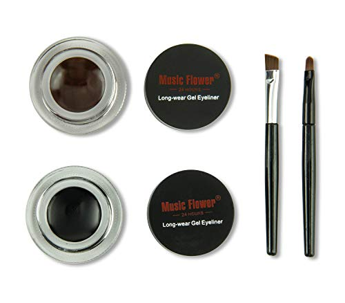 Frola 2 In 1 Long-wear Gel Eyeliner Smudge-proof & Waterproof, 2 Pieces Eye Makeup Brushes Included...