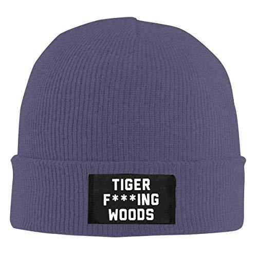 Yuanmeiju Tiger Fcuking Woods Beanie Caps Skull Cap Gorro de Tejer Gorro de Cobertura de Invierno cálido para Hombres y Mujeres