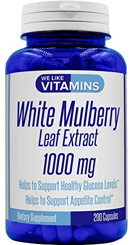 White Mulberry 1000mg – 200 Capsules – White Mulberry Supplement – Helps to Support Blood Sugar and Cholesterol Levels