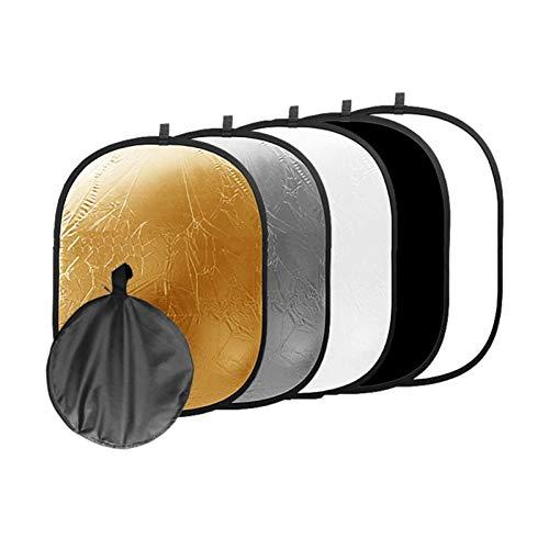 Fotografía con Reflector De Luz 5 En 1 90x120cm Studio Photo Oval Reflector Plegable Disco Fotográfico Portátil con Bolsa De Transporte Accesorios De Fotografía