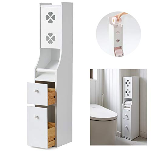 IOTXY Bathroom Floor Storage Cabinet, Solid Wood Toilet Tissue Cabinet with Trash Can and Drawer, Toilet Paper Storage Container, White
