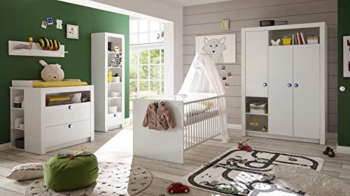 Möbel Akut Babyzimmer Komplettset 3-teilig Kinderzimmer Paula weiß Griff weiß blau rosa