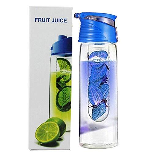 Mingtongli 800 Milliliter Frucht Infusing Wasserflasche mit Obst Infuser und Flip Lid Zitronensaft Make-Flasche