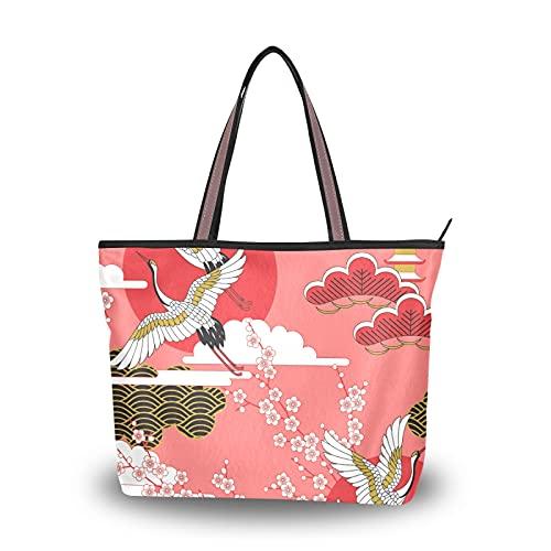 para madres, mujeres, niñas, señoras, estudiantes, bolso de mano, bolsos de hombro, Japón, grúas japonesas, flor, cereza, peso ligero, correa, monedero, bolsos de compras