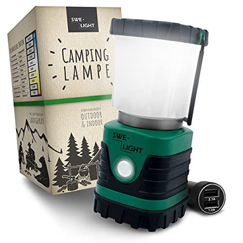 SWE-LIGHT – Premium Campinglampe – Ultra helle LED Campinglampe aufladbar – 4 Beleuchtungsmodi & dimmbar – Outdoor Lampe – Mit Bügel & Haken
