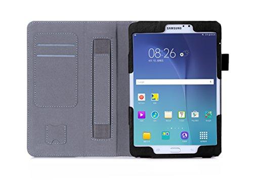 Galaxy Tab S2 8.0 Funda,ISIN Folio Funda Case Cover Carcasa con Stand Función para Samsung Galaxy Tab S2 8 de 8,0 pulgadas WIFI LTE SM-T710 T713 T715 T719N Android Tablet con Correa para la Mano,Soporte para lápiz táctil y Ranuras para Tarjetas (Negro)