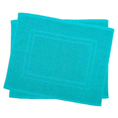 Julie Julsen 2er Pack 50 x 40 cm Badvorleger in Premium Qualität 900 gm2 in aktuellen Farben und 4 Größen aus Baumwolle Badematte Badteppich Duschvorleger Design Doppel Rahmen Türkis
